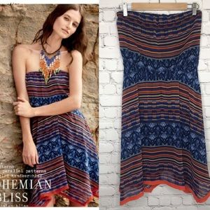 Anthropologie Maeve Boho Strapless Dress